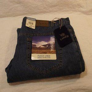 WINDRIVER Mens, Fleece Jean, 42x32 Blue
